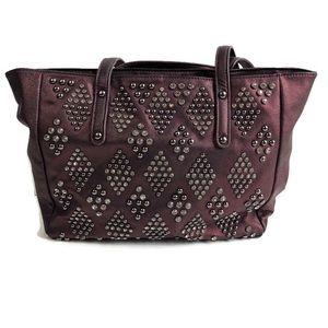 Studded rhinestone purple shoulder bag purse